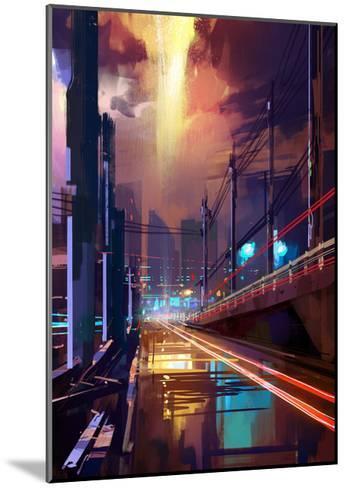 Digital Painting of Modern City Street at Night,Illustration-Tithi Luadthong-Mounted Art Print