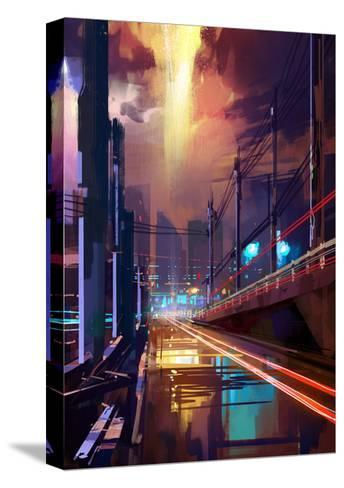 Digital Painting of Modern City Street at Night,Illustration-Tithi Luadthong-Stretched Canvas Print