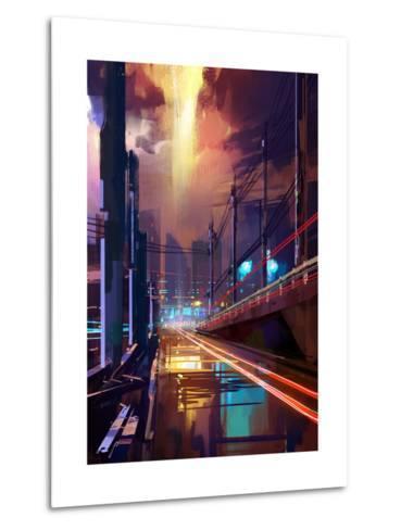 Digital Painting of Modern City Street at Night,Illustration-Tithi Luadthong-Metal Print