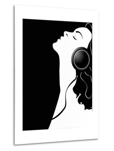 Black and White Poster of a Girl with Headphones.-Asykina Olena-Metal Print