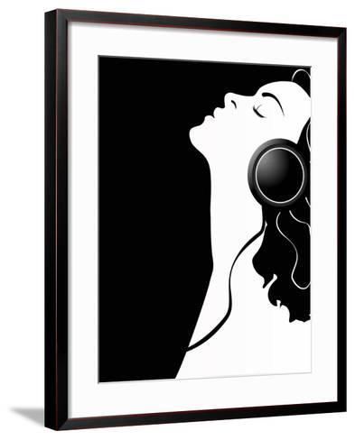 Black and White Poster of a Girl with Headphones.-Asykina Olena-Framed Art Print
