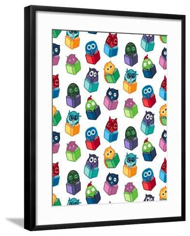Hand Drawn Funny Owl with Book Seamless Pattern. Owls Learning Subject for Print, Fabric, Wrap and-BarsRsind-Framed Art Print