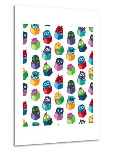 Hand Drawn Funny Owl with Book Seamless Pattern. Owls Learning Subject for Print, Fabric, Wrap and-BarsRsind-Metal Print