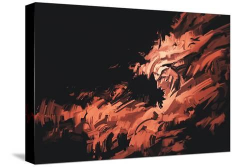 Abstract Painting of Man Face with Brushstrokes ,Illustration-Tithi Luadthong-Stretched Canvas Print