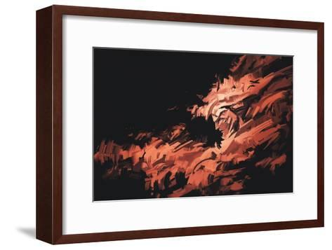 Abstract Painting of Man Face with Brushstrokes ,Illustration-Tithi Luadthong-Framed Art Print