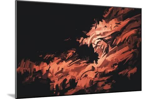 Abstract Painting of Man Face with Brushstrokes ,Illustration-Tithi Luadthong-Mounted Art Print