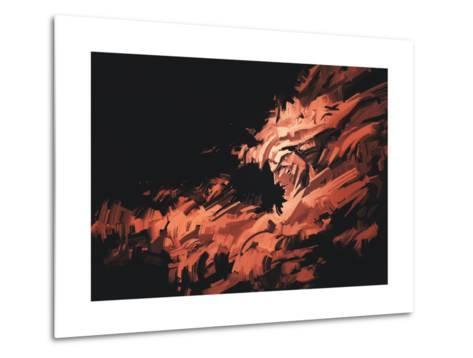 Abstract Painting of Man Face with Brushstrokes ,Illustration-Tithi Luadthong-Metal Print