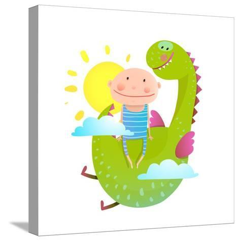 Baby and Dragon Cloud Sun Flying Happy Friends. Baby and Dragon Friendship. Animal Funny Monster, Y-Popmarleo-Stretched Canvas Print