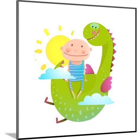 Baby and Dragon Cloud Sun Flying Happy Friends. Baby and Dragon Friendship. Animal Funny Monster, Y-Popmarleo-Mounted Art Print
