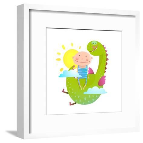 Baby and Dragon Cloud Sun Flying Happy Friends. Baby and Dragon Friendship. Animal Funny Monster, Y-Popmarleo-Framed Art Print