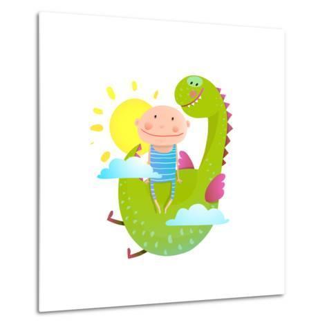Baby and Dragon Cloud Sun Flying Happy Friends. Baby and Dragon Friendship. Animal Funny Monster, Y-Popmarleo-Metal Print