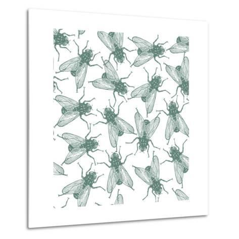 Seamless Vector Flies Pattern in Vintage Engraved Style. Isolated, Grouped, Transparent Background- lestyan-Metal Print