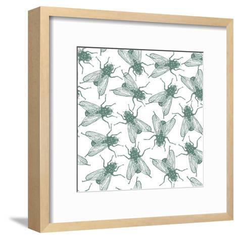 Seamless Vector Flies Pattern in Vintage Engraved Style. Isolated, Grouped, Transparent Background- lestyan-Framed Art Print