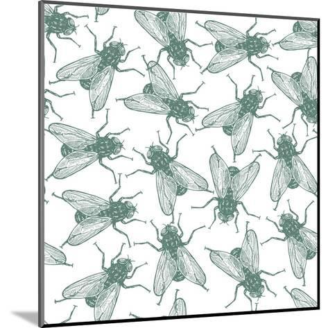 Seamless Vector Flies Pattern in Vintage Engraved Style. Isolated, Grouped, Transparent Background- lestyan-Mounted Art Print