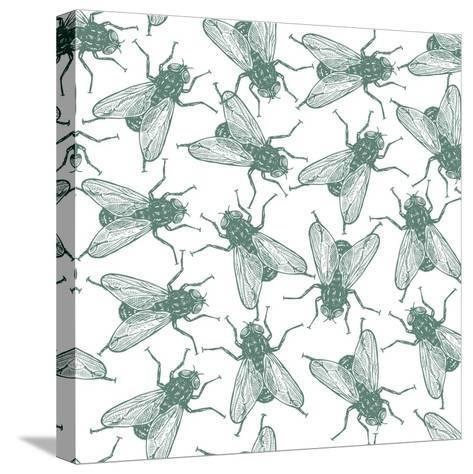 Seamless Vector Flies Pattern in Vintage Engraved Style. Isolated, Grouped, Transparent Background- lestyan-Stretched Canvas Print