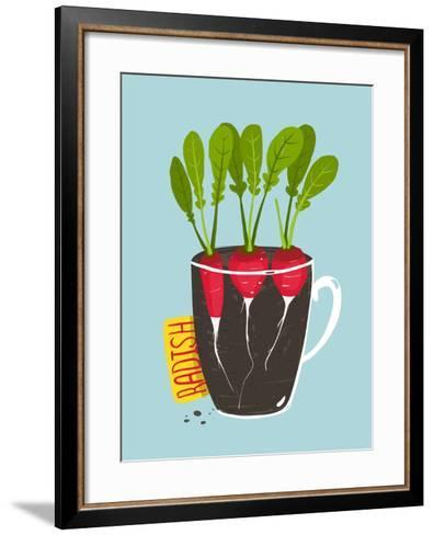 Growing Radish with Green Leafy Top in Pot. Root Vegetable Container Gardening Illustration. Layere-Popmarleo-Framed Art Print