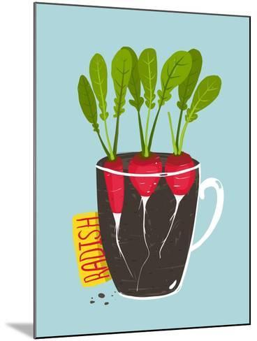 Growing Radish with Green Leafy Top in Pot. Root Vegetable Container Gardening Illustration. Layere-Popmarleo-Mounted Art Print