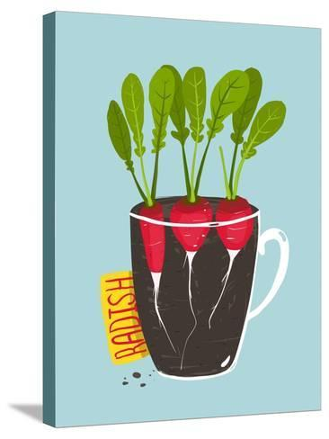 Growing Radish with Green Leafy Top in Pot. Root Vegetable Container Gardening Illustration. Layere-Popmarleo-Stretched Canvas Print