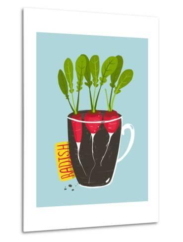 Growing Radish with Green Leafy Top in Pot. Root Vegetable Container Gardening Illustration. Layere-Popmarleo-Metal Print