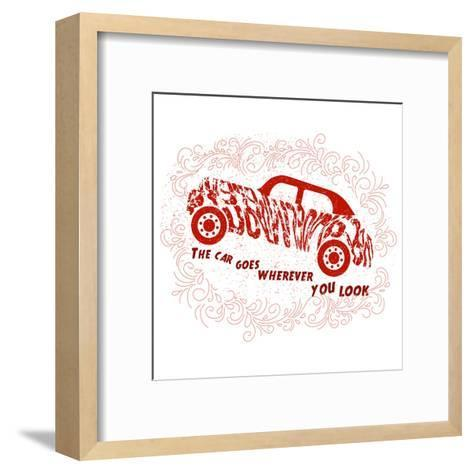 Drawn Typography Poster with a Motivational Quote about Cars. Suitable for Design T-Shirts, Bags, P-Liliya_ Mekhonoshina-Framed Art Print
