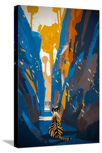Tiger Stalking in Narrow Rock Wall,Illustration Digital Painting-Tithi Luadthong-Stretched Canvas Print