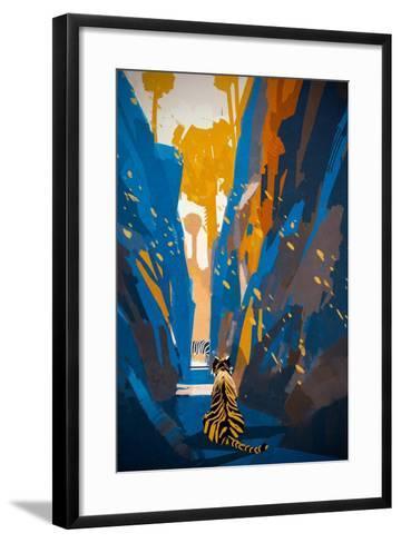 Tiger Stalking in Narrow Rock Wall,Illustration Digital Painting-Tithi Luadthong-Framed Art Print