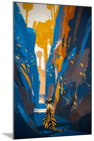 Tiger Stalking in Narrow Rock Wall,Illustration Digital Painting-Tithi Luadthong-Mounted Art Print