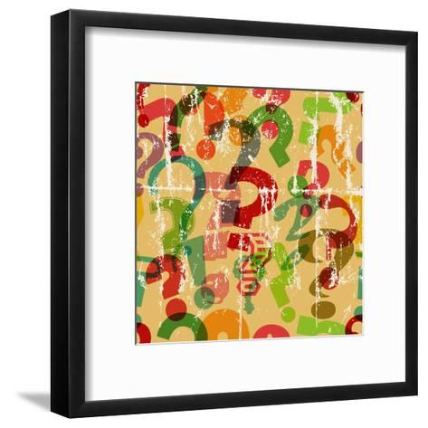 Seamless Background Pattern with Question Mark, Grungy Vector-Thomas Bethge-Framed Art Print