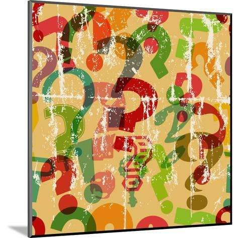 Seamless Background Pattern with Question Mark, Grungy Vector-Thomas Bethge-Mounted Art Print