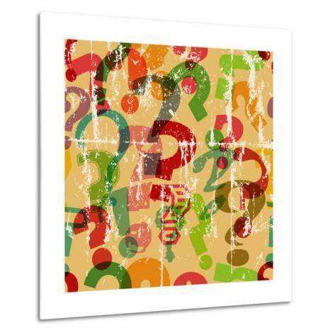 Seamless Background Pattern with Question Mark, Grungy Vector-Thomas Bethge-Metal Print