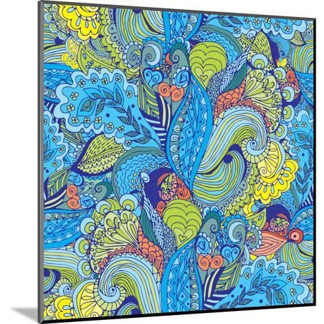 Abstract Floral Pattern - Tropical Motif-radugaart-Mounted Art Print