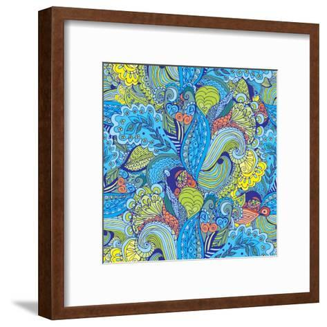 Abstract Floral Pattern - Tropical Motif-radugaart-Framed Art Print