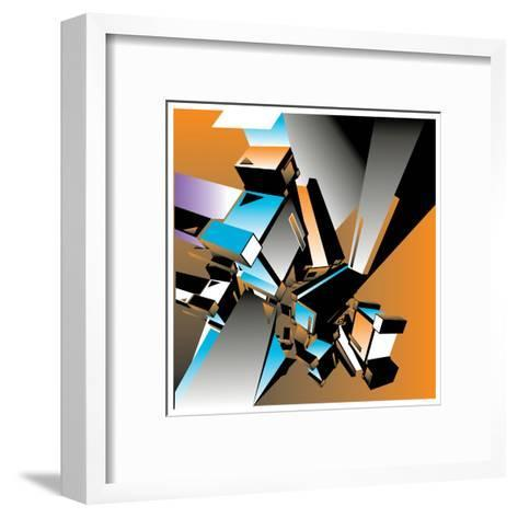 Geometric Colorful Design Abstract Background for Poster- singpentinkhappy-Framed Art Print