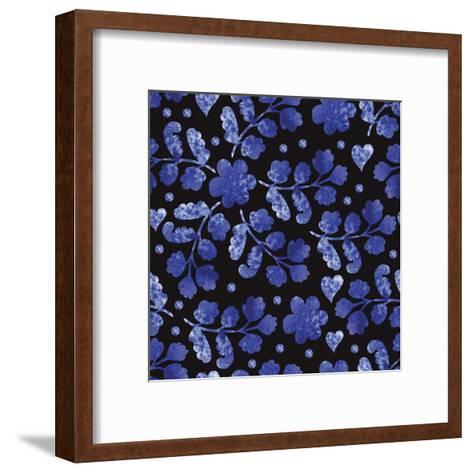 Vintage Seamless with Watercolor Flowers on a Black Background. for Fabric, Wrapping Paper, Print A-Yudina Anna-Framed Art Print