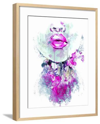 Abstract Print with Female Face and Painted Elements-A Frants-Framed Art Print