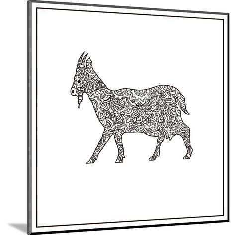 Vector Boho Goat for Coloring Book for Both Adult and Children, T - Shirt Graphic, Poster and Other-Shelest Yuliia-Mounted Art Print