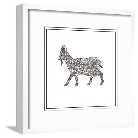 Vector Boho Goat for Coloring Book for Both Adult and Children, T - Shirt Graphic, Poster and Other-Shelest Yuliia-Framed Art Print