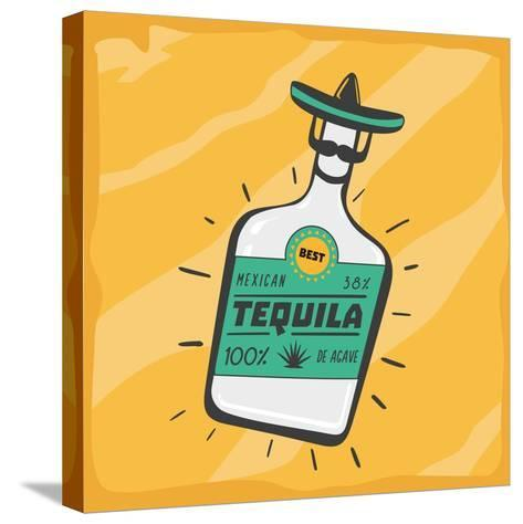 Vintage Poster with a Tequila Bottle.- ne2pi-Stretched Canvas Print