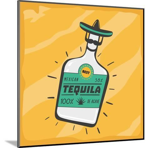 Vintage Poster with a Tequila Bottle.- ne2pi-Mounted Art Print
