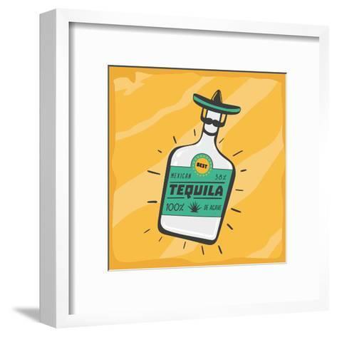 Vintage Poster with a Tequila Bottle.- ne2pi-Framed Art Print