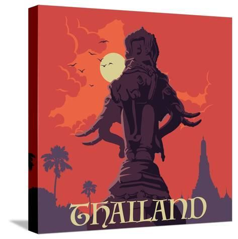 Statue of Elephants in Bangkok City. Sunset Urban Panorama. Warm Palette. Vintage Poster. Old-Fashi-Anton V Tokarev-Stretched Canvas Print