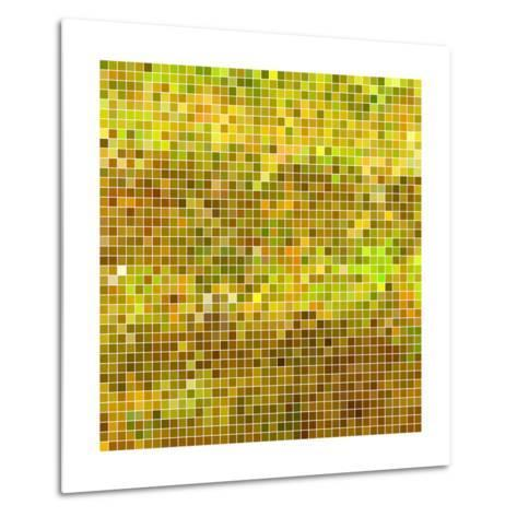 Abstract Vector Square Pixel Mosaic Background - Yellow-Green Flame-Metal Print