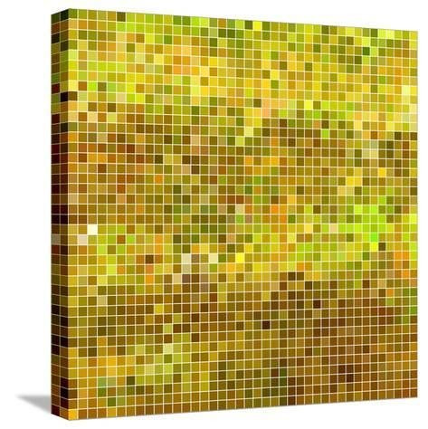 Abstract Vector Square Pixel Mosaic Background - Yellow-Green Flame-Stretched Canvas Print