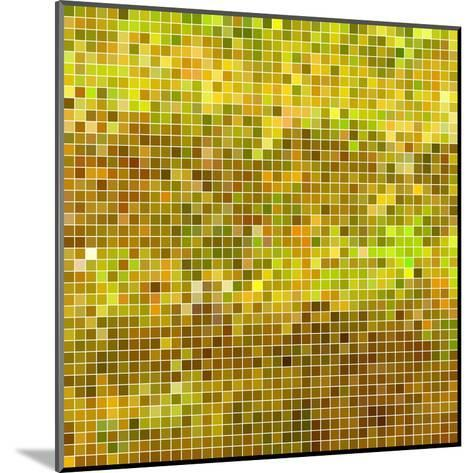 Abstract Vector Square Pixel Mosaic Background - Yellow-Green Flame-Mounted Art Print
