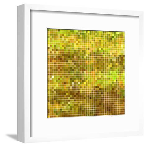 Abstract Vector Square Pixel Mosaic Background - Yellow-Green Flame-Framed Art Print