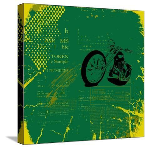Grunge Motorcycle Background Vector-elanur us-Stretched Canvas Print