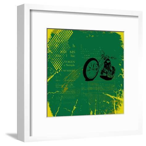 Grunge Motorcycle Background Vector-elanur us-Framed Art Print