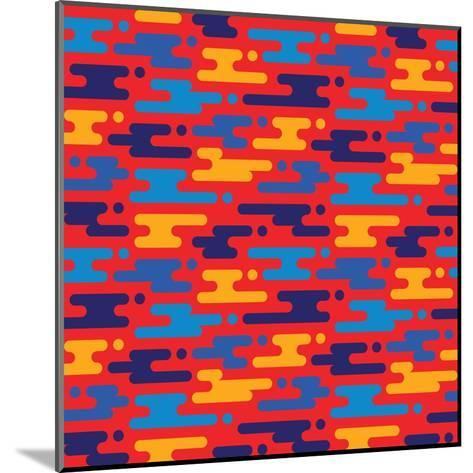 Abstract Geometric Background - Seamless Vector Pattern in Flat Style Design. Blue, Orange and Red-Sergey Korkin-Mounted Art Print