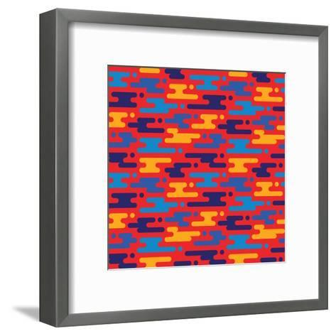 Abstract Geometric Background - Seamless Vector Pattern in Flat Style Design. Blue, Orange and Red-Sergey Korkin-Framed Art Print