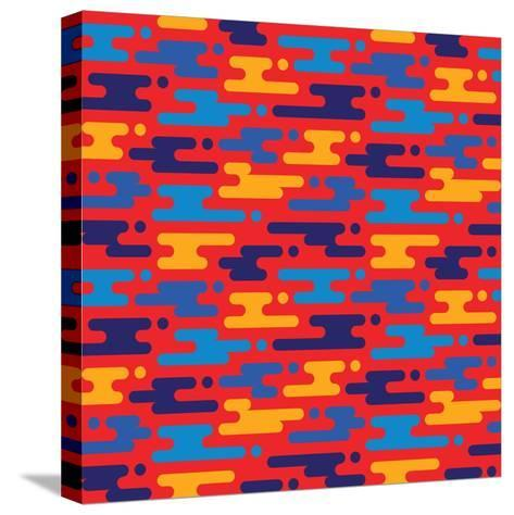 Abstract Geometric Background - Seamless Vector Pattern in Flat Style Design. Blue, Orange and Red-Sergey Korkin-Stretched Canvas Print